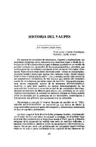 HISTORIA DEL VAUPES. Por Stephen Hugh-Jones