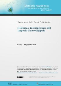 Historia e inscripciones del Imperio Nuevo Egipcio
