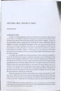 HISTORIA ORAL, TRAUMAY TABU*