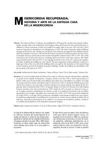 HISTORIA Y ARTE DE LA ANTIGUA CASA DE LA MISERICORDIA