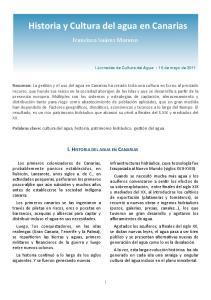 Historia y Cultura del agua en Canarias