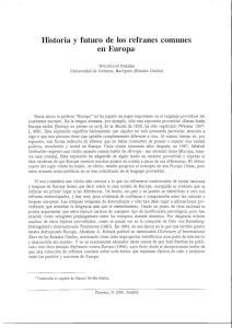 Historia y futuro de los refranes comunes en Europa1
