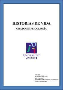 HISTORIAS DE VIDA GRADO EN PSICOLOGÍA