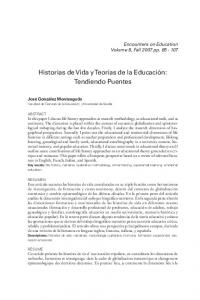 Historias de Vida yteorías de la Educación: Tendiendo Puentes