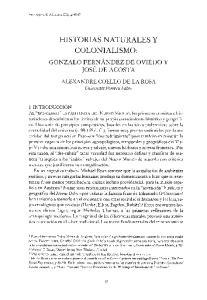 HISTORIAS NATURALES Y COLONIALISMO: