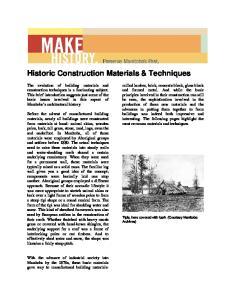 Historic Construction Materials & Techniques