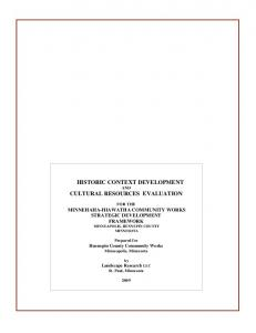 HISTORIC CONTEXT DEVELOPMENT AND CULTURAL RESOURCES EVALUATION