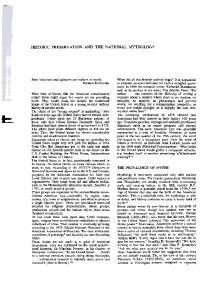 HISTORIC PRESERVATION AND THE NATIONAL MYTHOLOGY