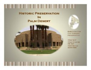 Historic Preservation In Palm Desert