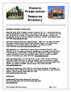 Historic Preservation Resource Directory