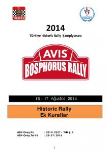 Historic Rally Ek Kurallar