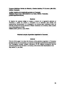 Historical analysis of petroleum legislation in Venezuela