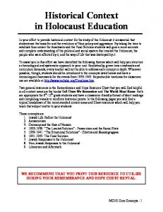 Historical Context in Holocaust Education