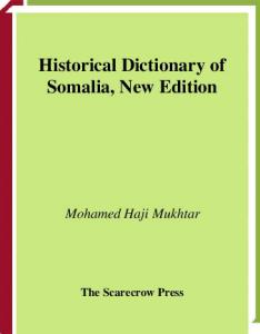 Historical Dictionary of Somalia, New Edition