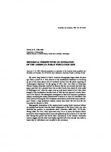 HISTORICAL PERSPECTIVES ON ESTIMATION OF THE AMERICAN INDIAN POPULATION SIZE