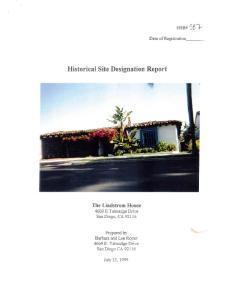 Historical Site Designation Report