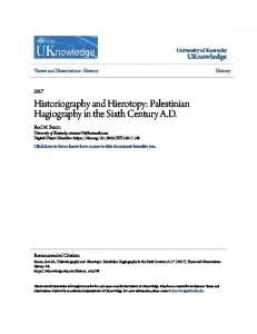 Historiography and Hierotopy: Palestinian Hagiography in the Sixth Century A.D