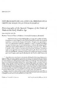 Historiography of the Spanish Tongues of the Order of Malta in the Early Modern Age