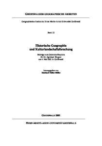 Historische Geographie und Kulturlandschaftsforschung