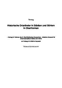 Historische Ortsränder in Städten und Dörfern in Oberfranken