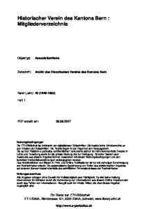 Historischer Verein des Kantons Bern : Mitgliederverzeichnis