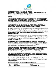 HISTORY AND HONOUR ROLL Australian Women s Stroke Play and Amateur Championship