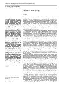 History of medicine. Otorhinolaryngology. Neil Weir