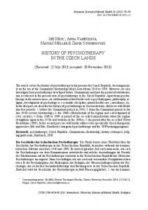 HISTORY OF PSYCHOTHERAPY IN THE CZECH LANDS