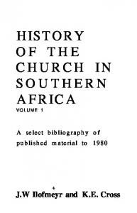 HISTORY OF THE CHURCH IN SOUTHERN AFRICA