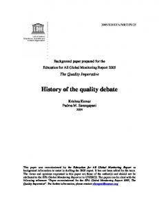 History of the quality debate