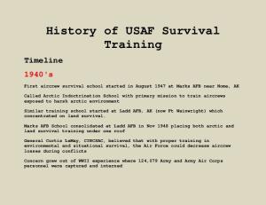 History of USAF Survival Training