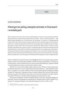 Historyczne polisy ubezpieczeniowe w finansach i w kolekcjach