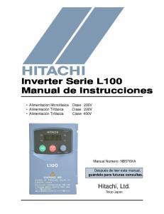 HITACHI. Inverter Serie L100 Manual de Instrucciones. Hitachi, Ltd