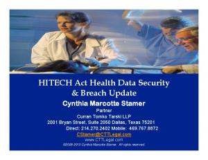 HITECH Act Health Data Security & Breach Update