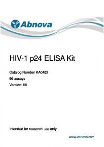 HIV-1 p24 ELISA Kit. Catalog Number KA assays Version: 09. Intended for research use only