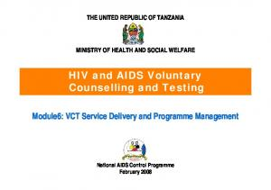 HIV and AIDS Voluntary Counselling and Testing