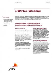 HKFRS News. IASB publishes exposure draft on improvements project cycle