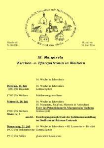 Hl. Margareta Kirchen- u. Pfarrpatronin in Weihern