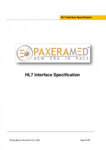 HL7 Interface Specification HL7 Interface Specification