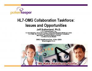 HL7-OMG Collaboration Taskforce: Issues and Opportunities