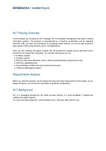 HL7 Parsing Overview. Requirements Analysis. HL7 Background