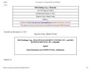 HMS Holdings Corp. v Moiseenko NY Slip Op 51647(U) Supreme Court, Albany County. Platkin, J