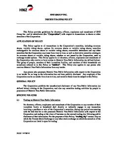 HNZ GROUP INC. INSIDER TRADING POLICY