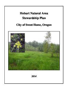 Hobart Natural Area Stewardship Plan. City of Sweet Home, Oregon