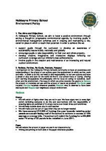 Hobbayne Primary School Environment Policy