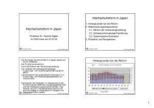 Hochschulreform in Japan. Hochschulreform in Japan. Hintergruende fuer die Reform