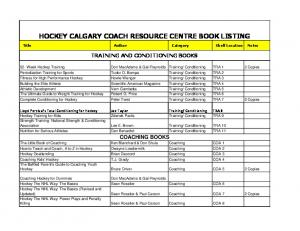 HOCKEY CALGARY COACH RESOURCE CENTRE BOOK LISTING