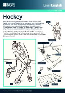 Hockey ENGLISH FOR THE GAMES