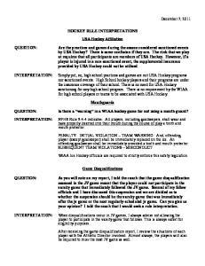 HOCKEY RULE INTERPRETATIONS. USA Hockey Affiliation