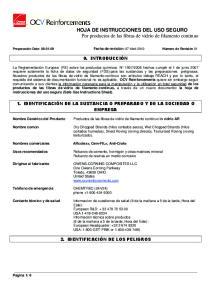 HOJA DE INSTRUCCIONES DEL USO SEGURO Por productos de las fibras de vidrio de filamento continuo
